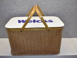 Vintage Remon Welch s Picnic Basket w Metal Handles   Woven material    10 1 2   x 18 1 2