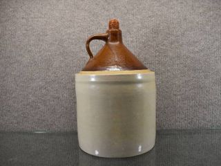 Vintage Two Toned Stoneware Shoulder Jug w Cob Stopper   13  Tall