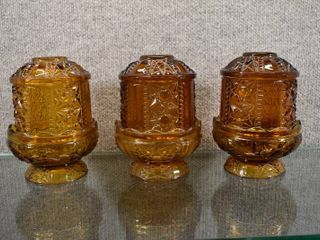 lot of 3 Amber Indiana Glass Fairy lamps   Stars and Bars Design   Matches lot 2264   6 5  Tall