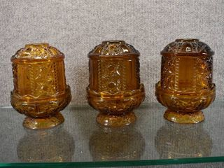 lot of 3 Amber Indiana Glass Fairy lamps   Stars and Bars Design   Matches lot 2263   6 5  Tall