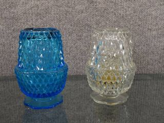 lot of 2 Clear Blue   Clear Indiana Glass Fairy lamps   Diamond Design   5 25  Tall