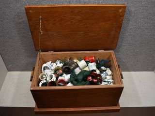 lot of Approximately 300 Napkin Holder Rings in a Handmade Wooden Box   Over 60 Sets   Box   20 5  x 13  x 12