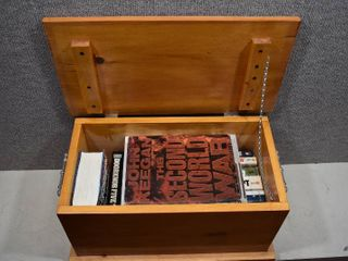 lot of 14 Fiction Non Fiction War Books and Novels in a Handmade Wooden Box   Box   20 5  x 13  x 12