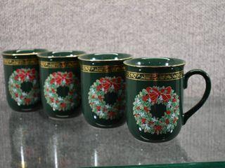 Set of 4 Gibson Otagiri Japan Green Christmas Wreath Cups   4  T x 4 25  W