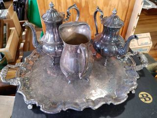 Vintage Silverplate Silver On Copper Serving Decor Set   4 Piece Set   Jug   Pilgrim Silverplate   Tray   Teapots   Sheridan Silver on Copper   Tray   26  W x 17  l