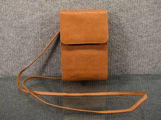 Vintage leather Over Shoulder Wallet w Cell Phone Holder   Fossil   Tan
