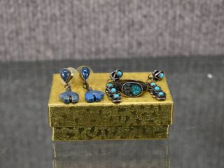 lot of 3 Turquoise Inlay Silver Ring   Two Pair of Earrings   Sterling Silver