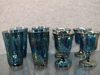 Set of 8 Carnival Tumblers and Goblets   Grape and leaf Indiana Glass   Tumbler 5 3 4  Goblet 5 1 4    4 Each