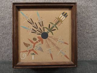Vintage Set of 2 Navajo Sand Painting Four Sacred Plants   Monument Valley   Artist Johnson   9  x 9