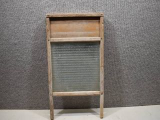 Vintage Ribbed Glass Washboard   Natural Wood   Sturdy Frame  Tongue   Groove   12 1 2  x 24