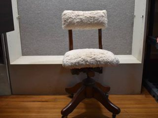 Vintage Sheepskin Rolling Adjustable Chair   30  Tall