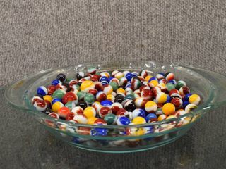 Vintage Pyrex Pie Dish Full of Marbles   Dish 10