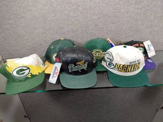 lot of 6 Green Bay Packers Baseball Caps   logo  Sports Specialities  Headlights
