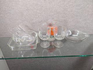 Vintage lot of 9 Glassware Items   Pyrex  Pitchers  Glasses  Bowls   Pyrex Bowl  023  Anchor Dish  435  OJ Pitcher   More   Bowl   Dish 1 1 2QT