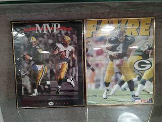 lot of 2 Brett Favre Framed Posters  1995 1996 MVP  1995 Starline    16  x 20