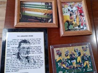 lot of 4 Green Bay Pictures  Brett Favre  Vince lombardi   Wood Framed  Plaque   6 1 2  x 8 1 2  8 1 2  x 10