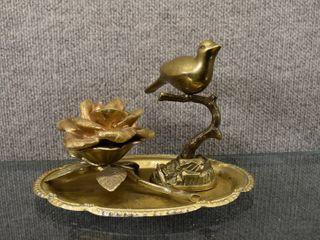 lot of 4 Home Decor Items   Brass Bird  Brass Flower  Silver Plate   Candle