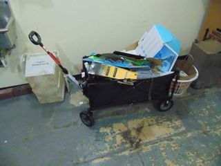 Collapsible Wagon and Contents  wagon missing one wheel