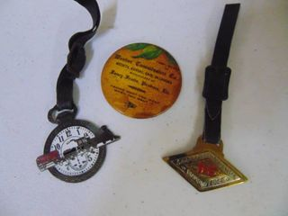 Watch fob and livestock commision pin backs