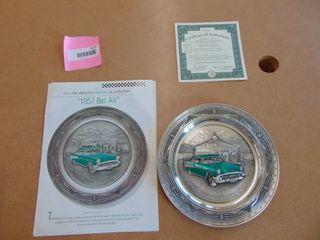 Bradford Exchange  The 1957 Bel Air  pewter plate 1993