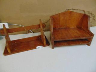 pair of wooden decor shelves