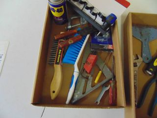 Misc  Tool lot WD 40  screwdrivers  clamps  screwdrivers