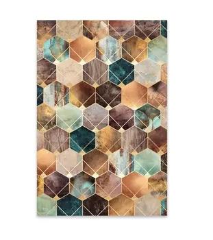 Noir Gallery Art Deco Digital Geometric Shape Metal Wall Art Print Retail 136 99