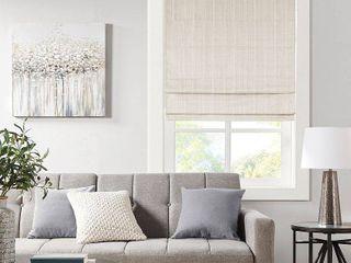 33 x64  Paxton Basketweave Room Darkening Cordless Roman Window Shade Ivory