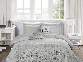 Gray   Silver Nova Metallic Comforter Set  Twin Twin Xl  4pc