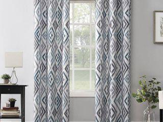 95 x40  Hana Ikat Geometric Semi Sheer Grommet Curtain Panel Teal   No 918