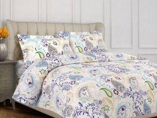 Paisley Garden Cotton Flannel Printed Oversized King Duvet Set Bedding