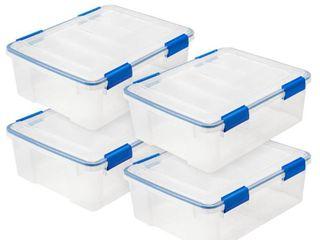 26 5 Qt  WEATHERTIGHT Storage Box in Clear  4 Pack