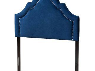 Full Rita Velvet Headboard Blue   Baxton Studio