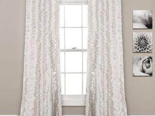 Sophia Ruffle Window Curtain Panels White Set 40x84