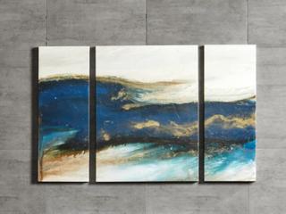 Carson Carrington Rezekne Waves Blue Gel Coated Canvas Set  Retail 78 98