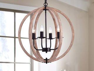 Benita Antique Black Natural Wood Orb Chandelier   N A   Retail 162 49
