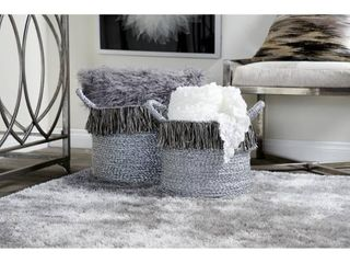Studio 350 Round Metallic Silver Aluminum Foil Storage Baskets with Yarn Tassels  Set of 2