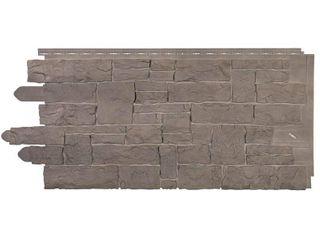 Novik Stacked Stone 45 in  x 20 1 4 in  Polymer Smoke Gray Vinyl Siding  10 Pack