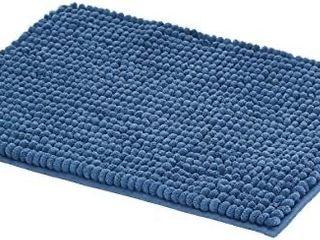 chenille loop bath mat blue