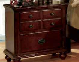 Furniture of America Alianess European Style 2 Drawer Cherry Nightstand