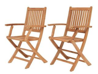 Amazonia Standford 2 piece Patio Folding Armchairs Certified Teak Ideal for Outdoors and Indoors