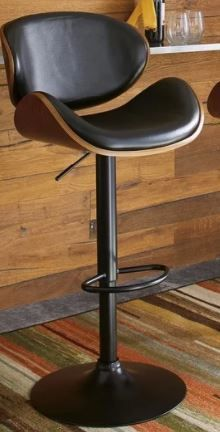 Strick   Bolton Harley Adjustable Height Matte Black Bar Stool  Retail 115 99