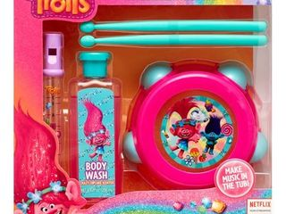 DreamWorks Trolls 4 Piece Musical Tub Tunes Bath Set with Drum and Flute