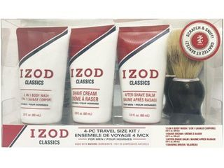 IZOD Mens Classics 4 pc  Shave Set One Size Red white