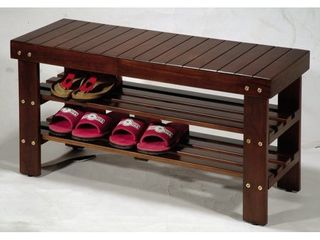 Roundhill Pina Solid Wood Storage Shoe Bench  Small Scratch