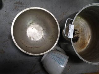 large Stock Pot and Metal Mixing Bowl