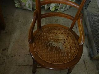Vintage Wooden Chair With Wicker Seat