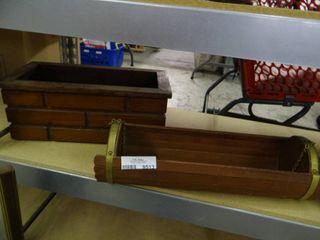 2 Vintage Wood Planters