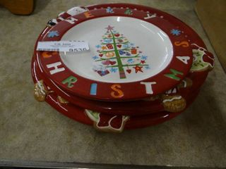 3 Christmas Cookie Gift Plates