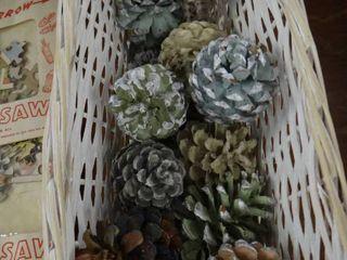 Basket of Colored Pine Cones